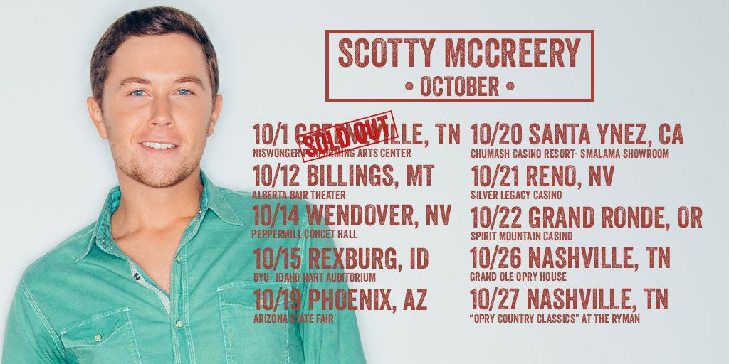 Scotty McCreery heads out on his October tour dates