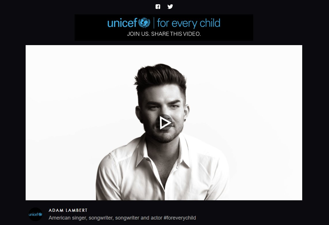 Watch @adamlambert sing  #IMAGINE for @UNICEF (75-second video) https://t.co/wLM8DyC1uW https://t.co/S9s2wBeIhE
