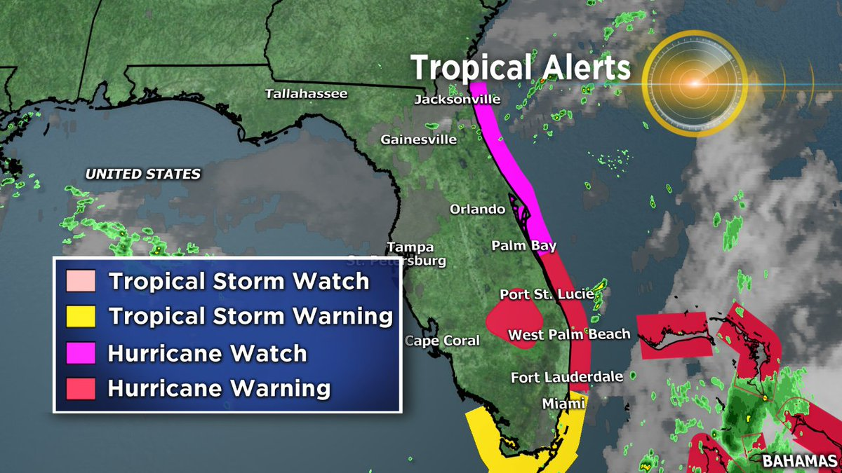 HURRICANE WATCH in effect from near Jacksonville, FL to Palm Bay.  HURRICANE WARNING from Palm Bay to Ft Lauderdale. https://t.co/eoUsBaYKUF