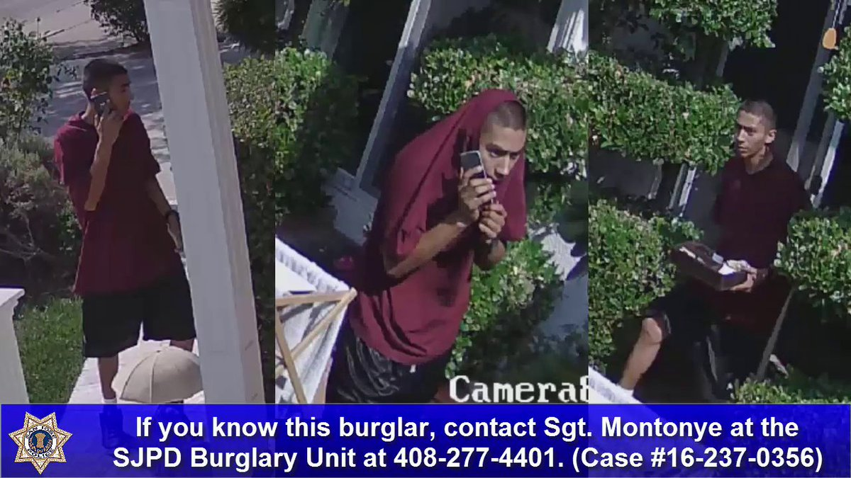San Jose police searching for daytime residential burglary suspect.