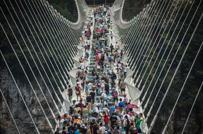 China swears that their terrifying glass bridge is totally safe