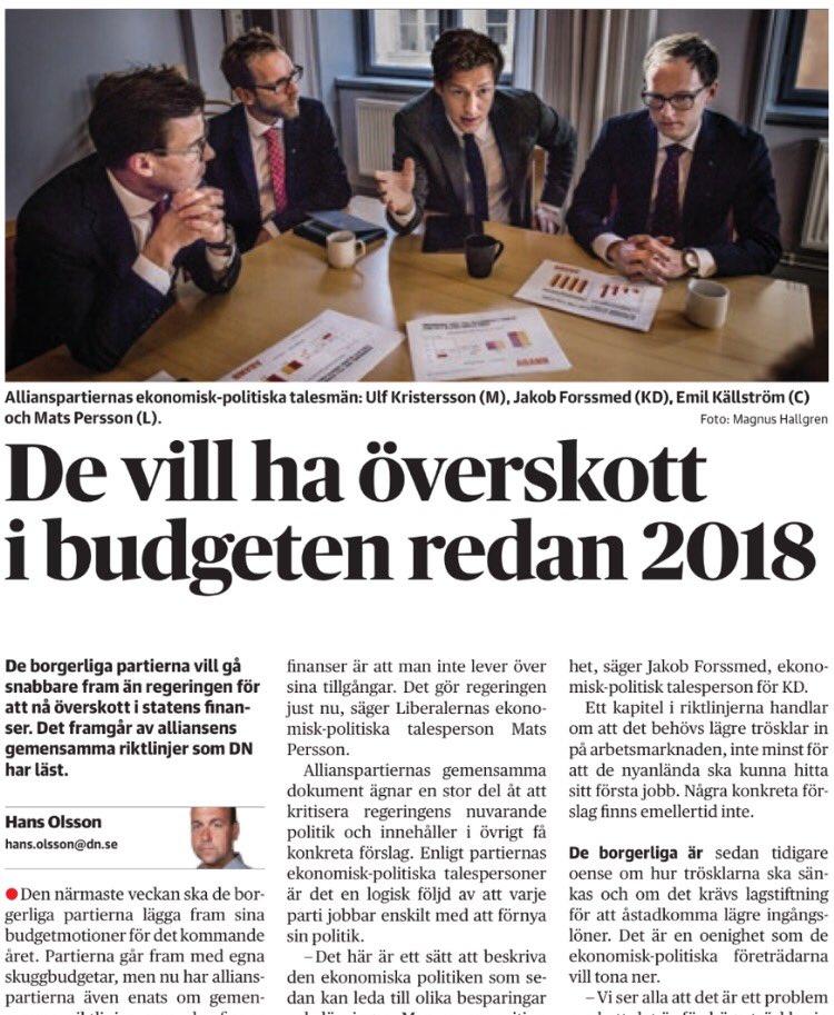 De vill ha overskott i budgeten redan 2018