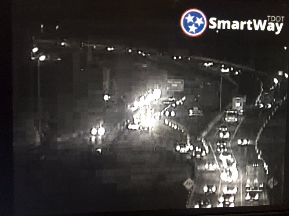Left & right shoulders blocked I-40W as you continue into Sam Cooper WB. Main lane is open. Just very slow!