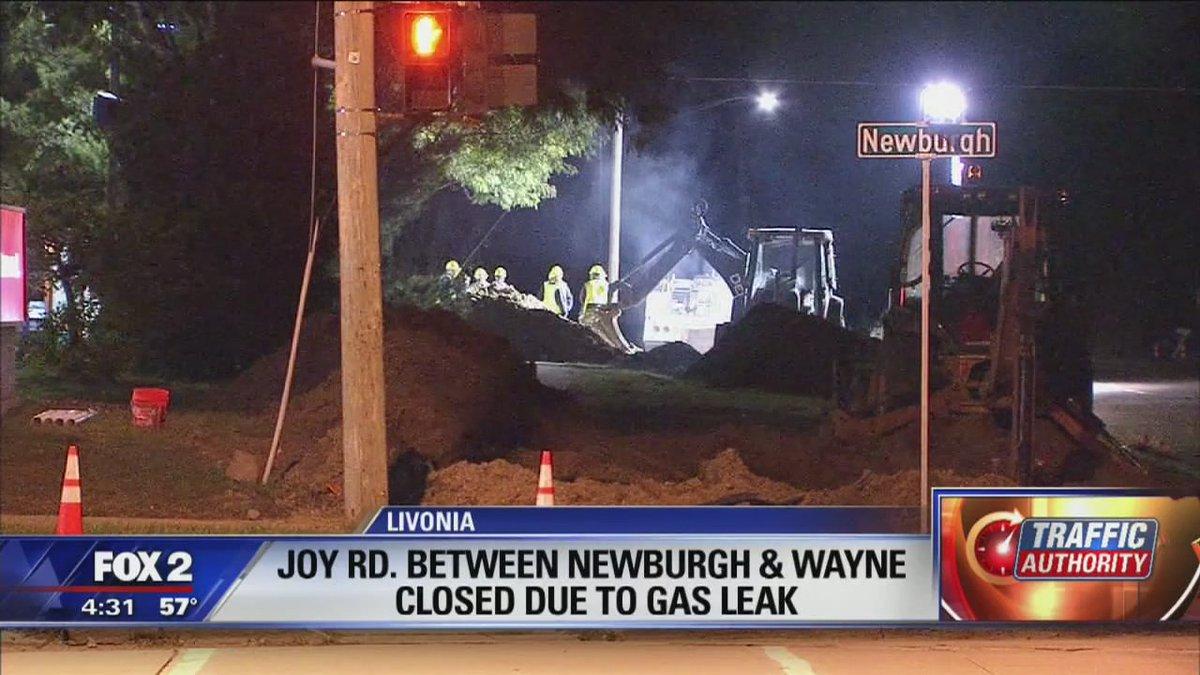Traffic alert: Joy Rd closed at Newburgh while crews repair a natural gas leak. Livonia Fox2Detroit