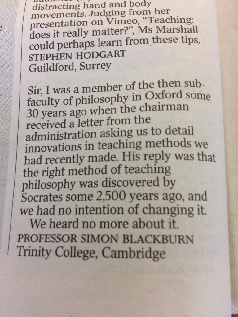 The long view on reform of university teaching, from a letter in @thetimes today https://t.co/asnx8nhlDW