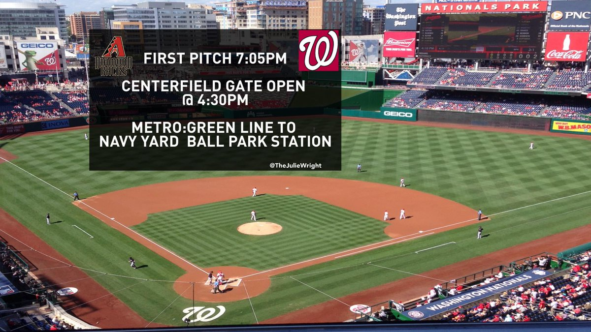 Nats host the Diamondbacks tongiht @ABC7EilleenW says there could be a rain delay First pitch @ 7:05 DCtraffic