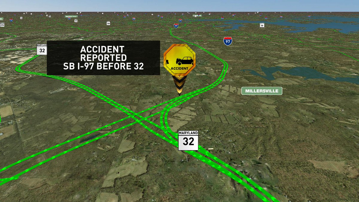 Accident reported Sb I-97 before 32 MDtraffic