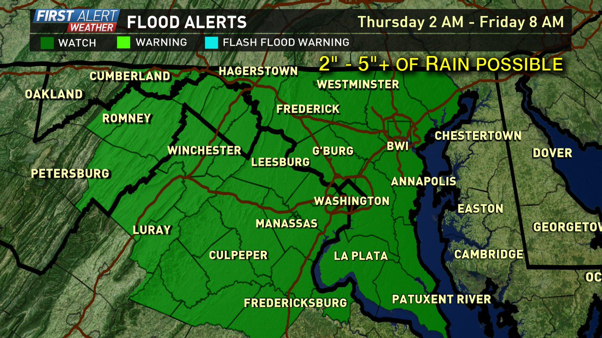 Lots of rain headed our way in the next 48 hours. Flash flood watch in place. @wusa9