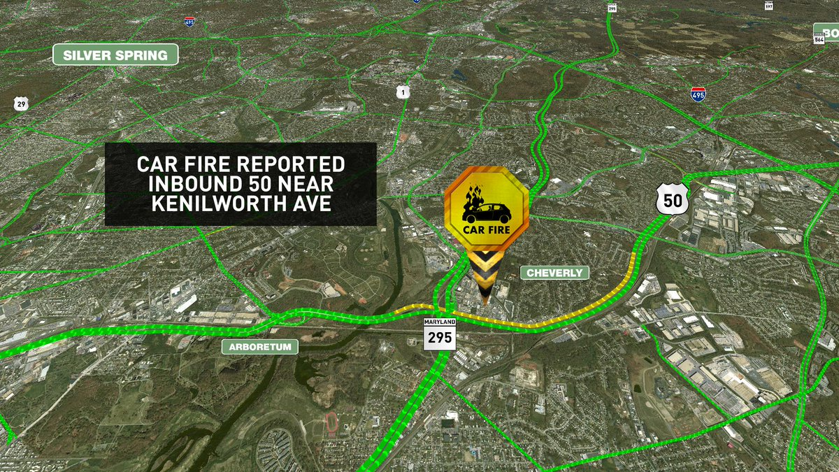 Car fire reported inbound 50 near Kenilworth Ave MDtraffic
