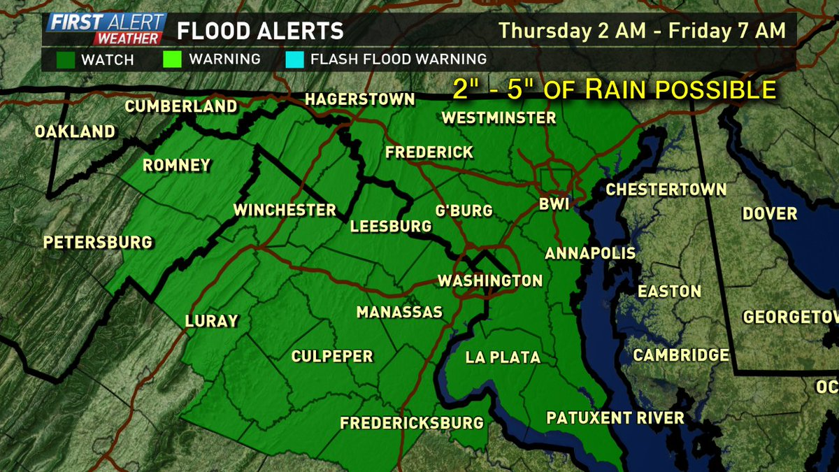 Flash Flood Watch for the entire Metro Area 2 AM Thursday - 7 AM Friday. 2