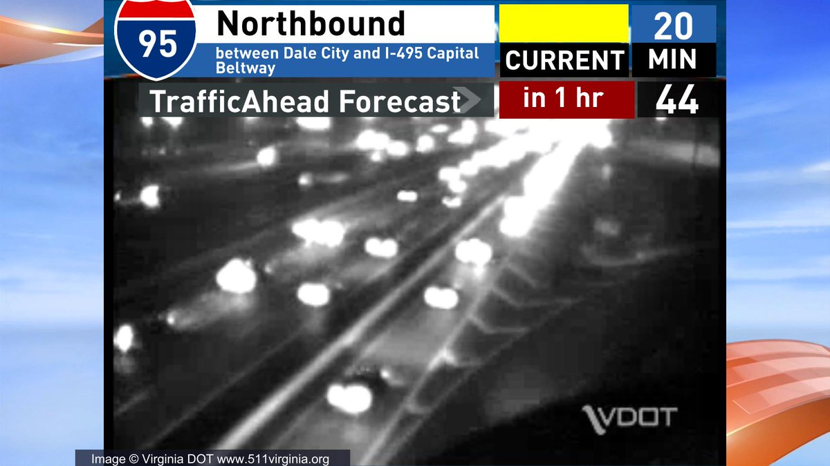 Right now w lanes open Nb 95 is a 20 min ride from Dale City to 495 In an hour it could be a 48 min ride VAtraffic