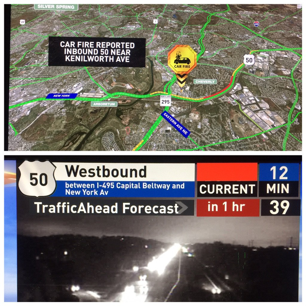 Checking for a car fire Wb 50 near Kenilworth Delays of 12mins from 202 right now MDTraffic