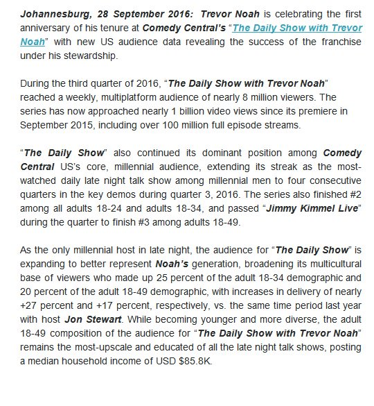 People said he'd flop, but Trevor Noah's audience ratings are doing just fine, thank you -> https://t.co/wZIoizqpo8