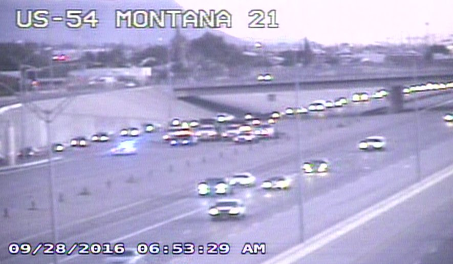 Starting to see major congestion US-54 SB. Ramp to I-10 WB. Exit at Montana.
