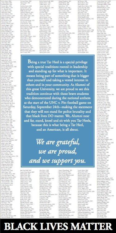 UNC alumni place full-page ad in @dailytarheel in support of #BlackLivesMatter. https://t.co/5fvQitUi4W