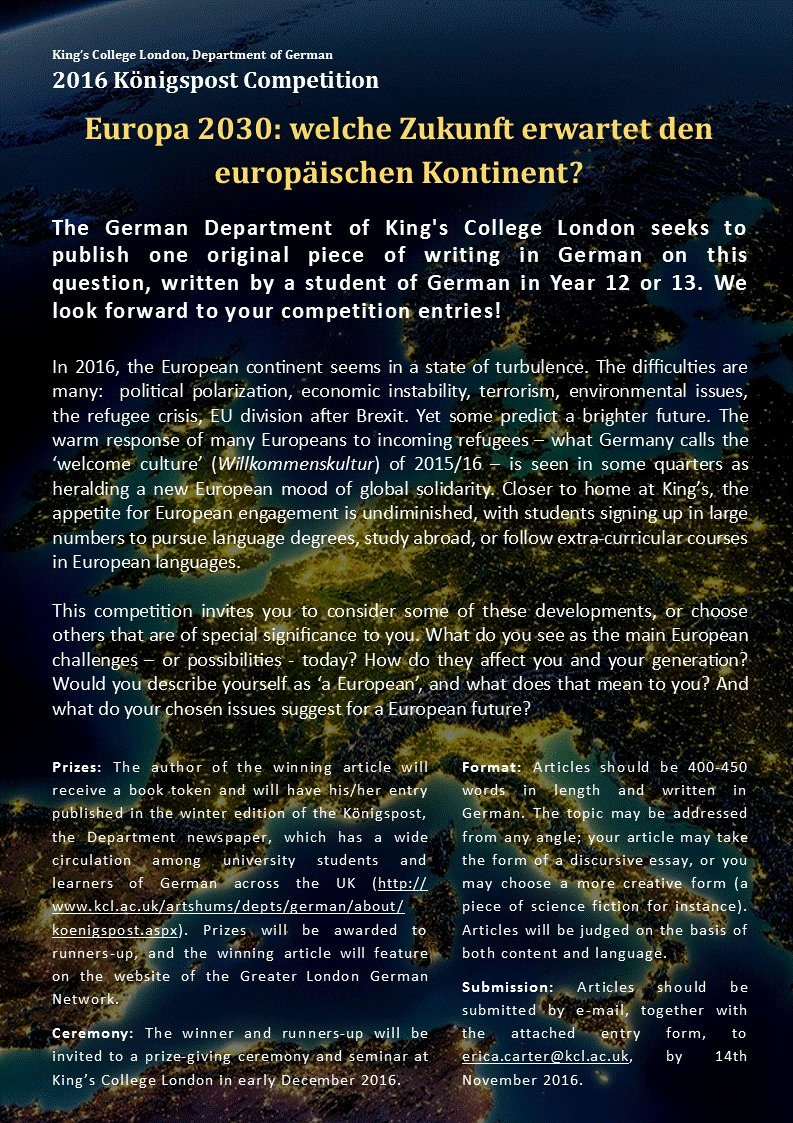 kcl konigspost kclkoenigspost twitter v excited to announce the 2016 kclkoenigspost competition for year 12 13 students of german kingsgerman kingsartshums glgermannetworkpic com