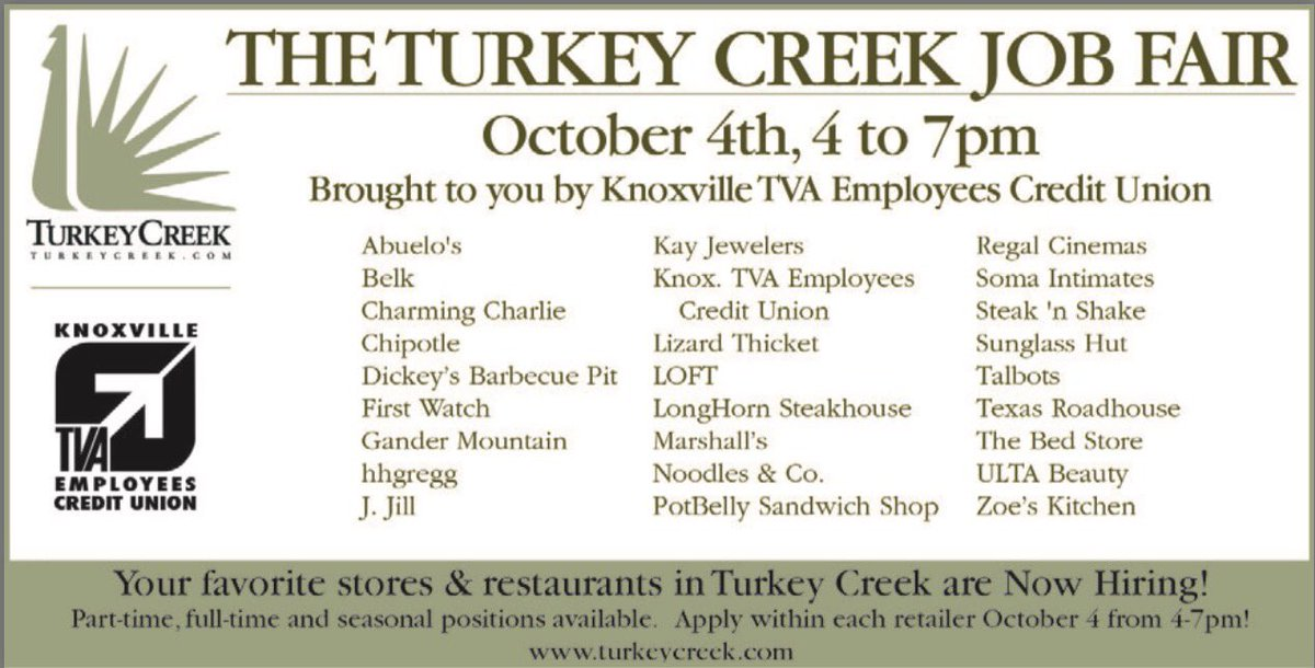 Turkey Creek On Twitter Looking For Part Time Full Time Or