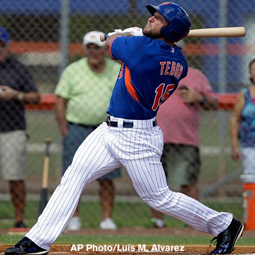 HOME RUN! Former NFL star Tim Tebow hits it out of the park on his first pitch
