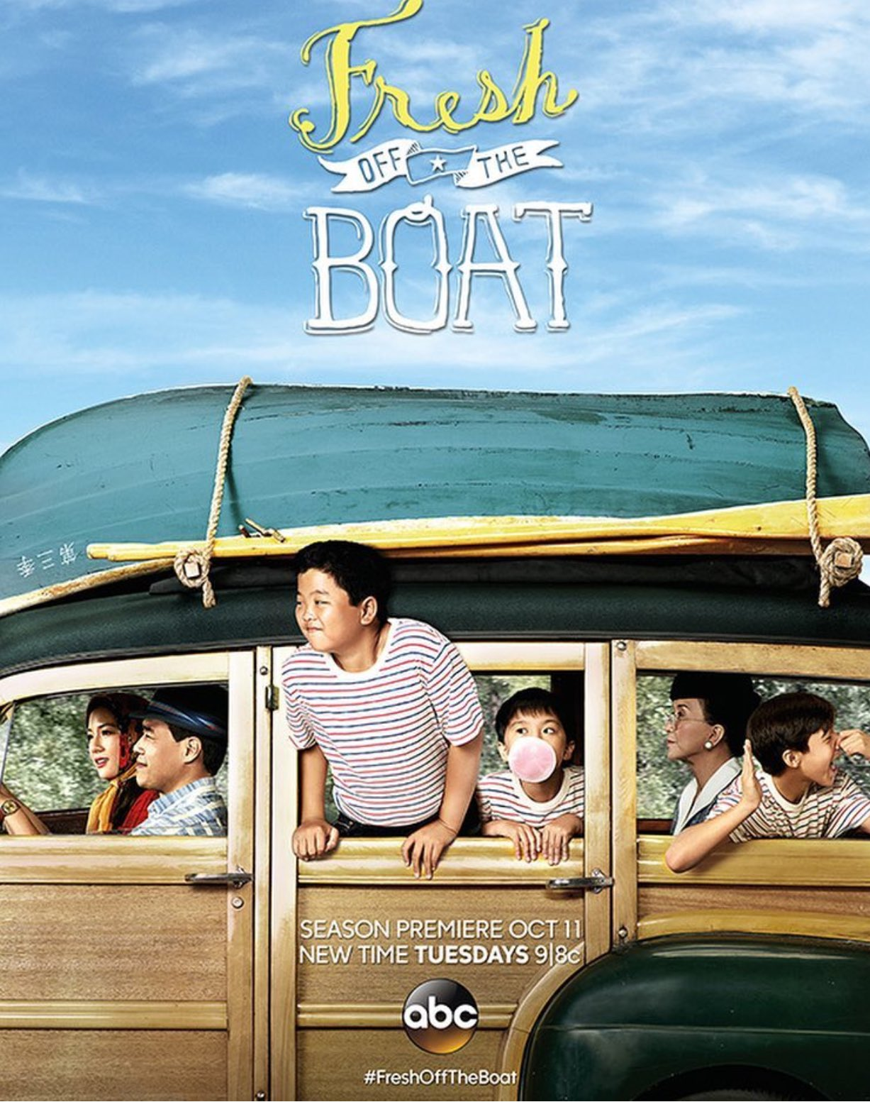 """RT @TheIanChen: Love our #FreshOfftheBoat season 3 poster, inspired by Norman Rockwell's """"Going and Coming"""" https://t.co/evYIFTgfY4"""