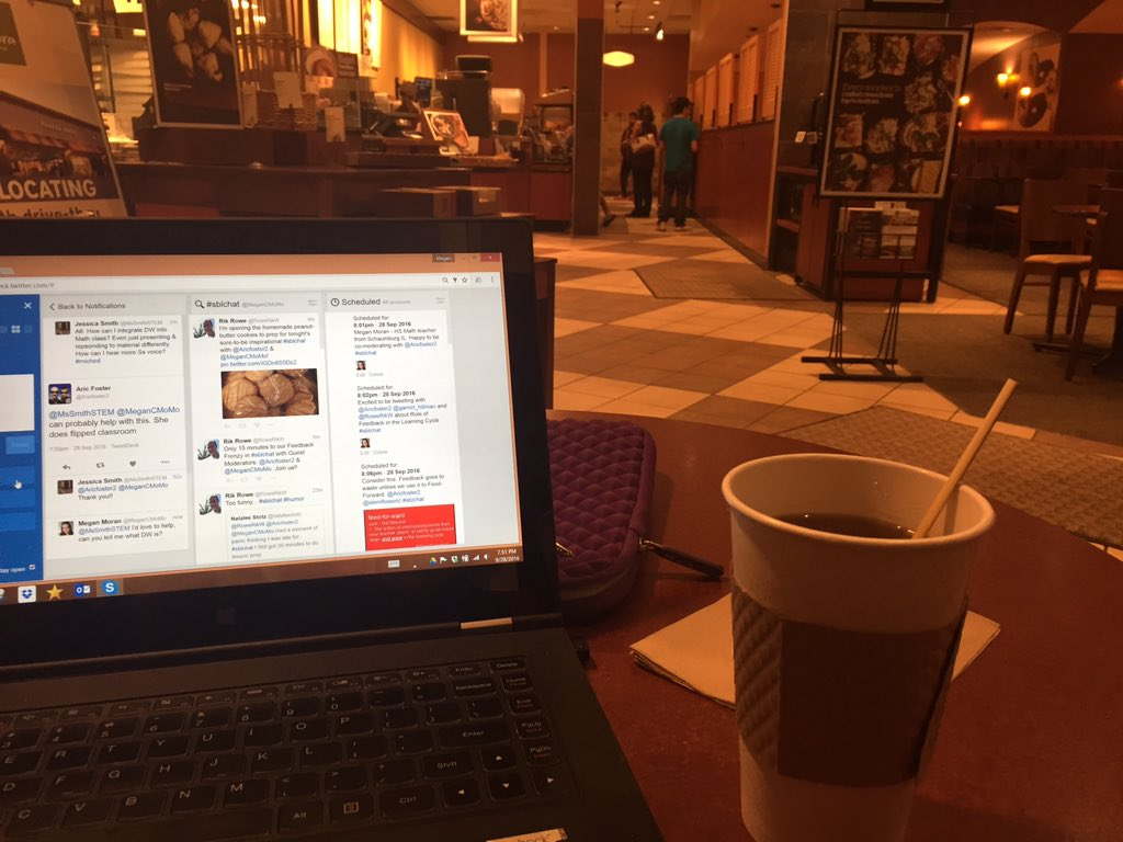 Wifi is down at home but that won't stop me from tweeting with #sblchat about Feedback for Learning @Panerabread https://t.co/CmgJxt36NK