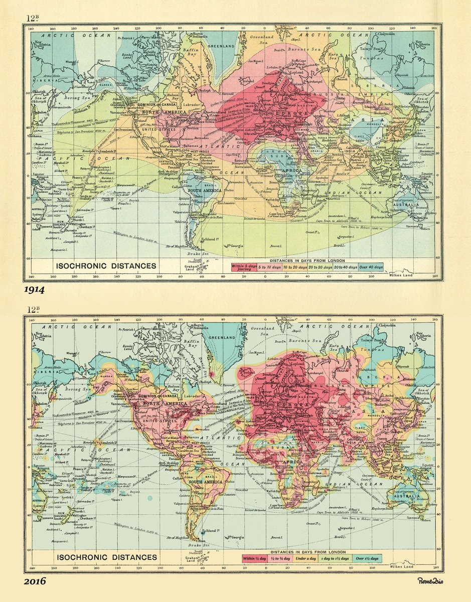 Simon kuestenmacher on twitter beautiful isochronic world map simon kuestenmacher on twitter beautiful isochronic world map compares travel time from london 1914 vs 2016 still by far the best map of the year sciox Choice Image