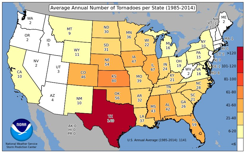 Scott Fisher Says: 30 Year Average Number of Tornadoes. Yikes. Texas.