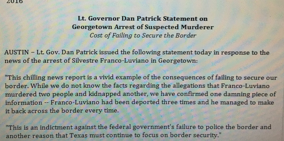 LT Gov @DanPatrick statement on DFW Murder/Gtown Kidnap Suspect 3x Deportation @fox7austin