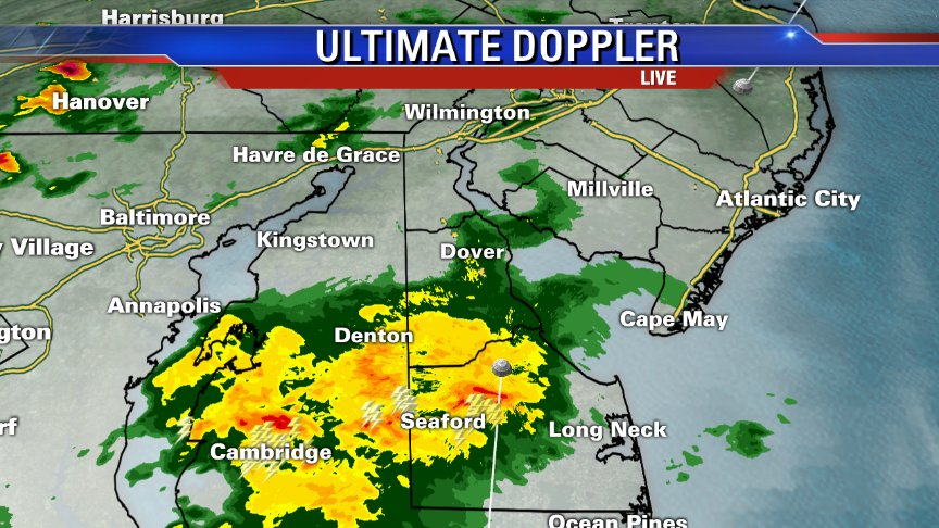 Moderate rain over Central and Southern Delaware.A few rumbles of thunder as well.
