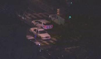Chopper 6 over scene of police-involved shooting of stabbing suspect on 6200 block of Hazel in West Philadelphia.