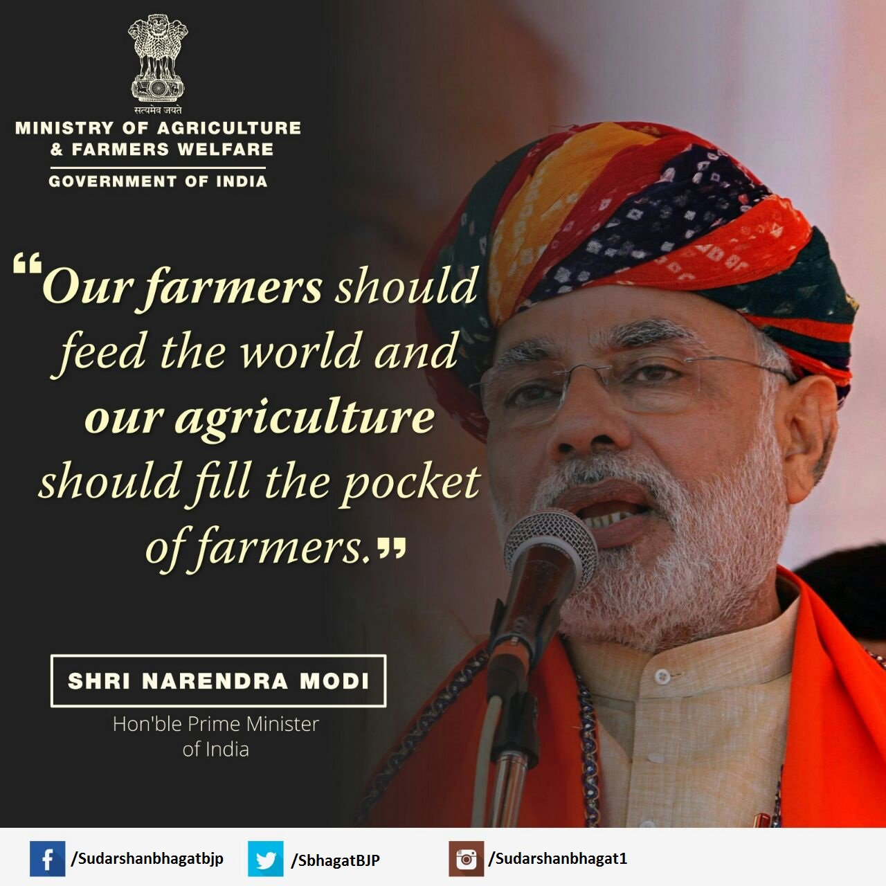 """""""Our farmers should feed the world and our agriculture should fill the pocket of farmers"""" #TransformingIndia https://t.co/W9VeuHHoVx"""