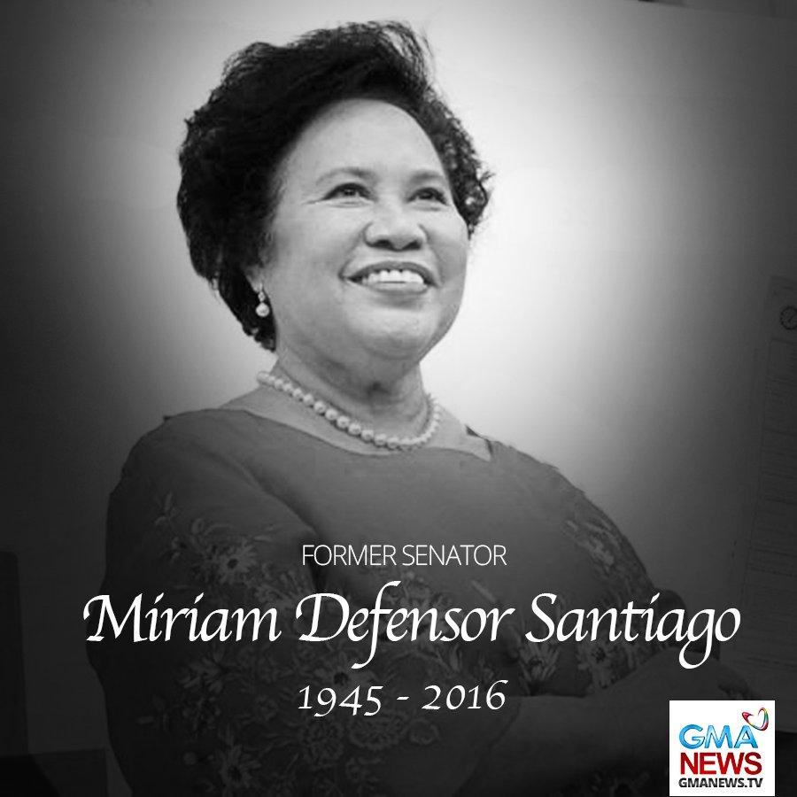BREAKING: Pumanaw na si dating Sen. Miriam Santiago, ayon sa kanyang mister na si Jun Santiago. | via @nimfaravelo… https://t.co/M3e2NIJfz7