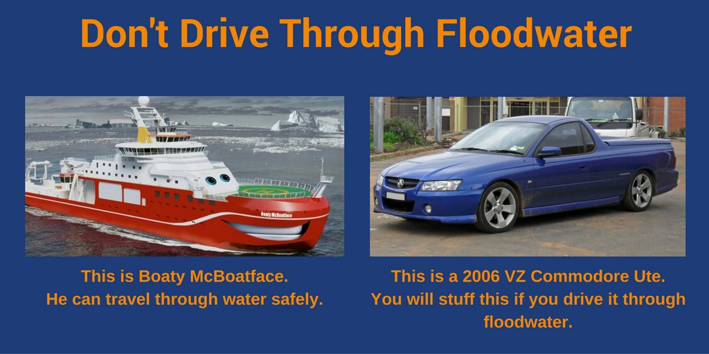 Never drive through floodwater. It could stuff your vehicle & put your life at risk. #nswfloods https://t.co/OMYZTeAw2l