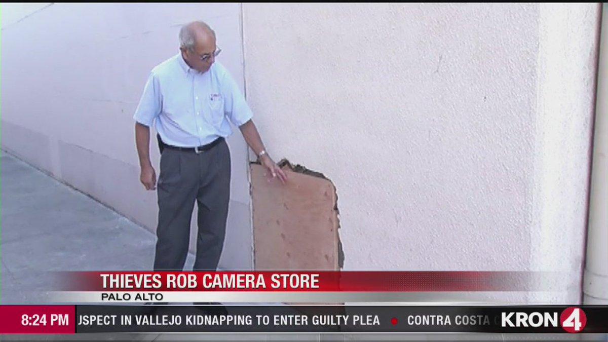 Thieves pummel through plaster to burglarize Palo Alto camera store.