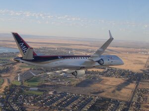 MRJ arriving today at Moses Lake, Wash., the first of four flight test planes.