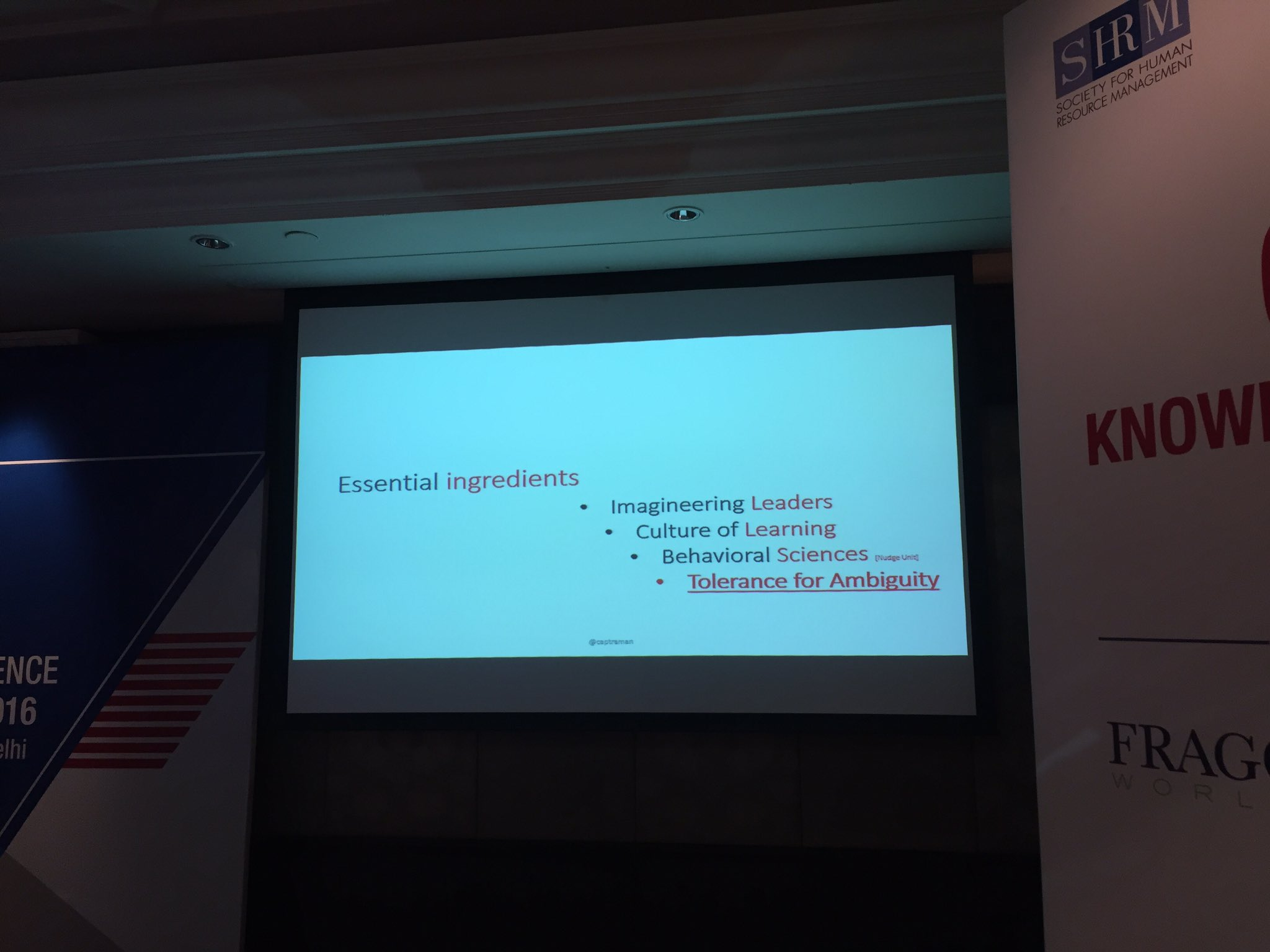 The essential ingredients of creating a VUCA world, as described by @captraman. @fragomen @indeed #SHRMI16 @HRPS https://t.co/TPzvnDEzzy