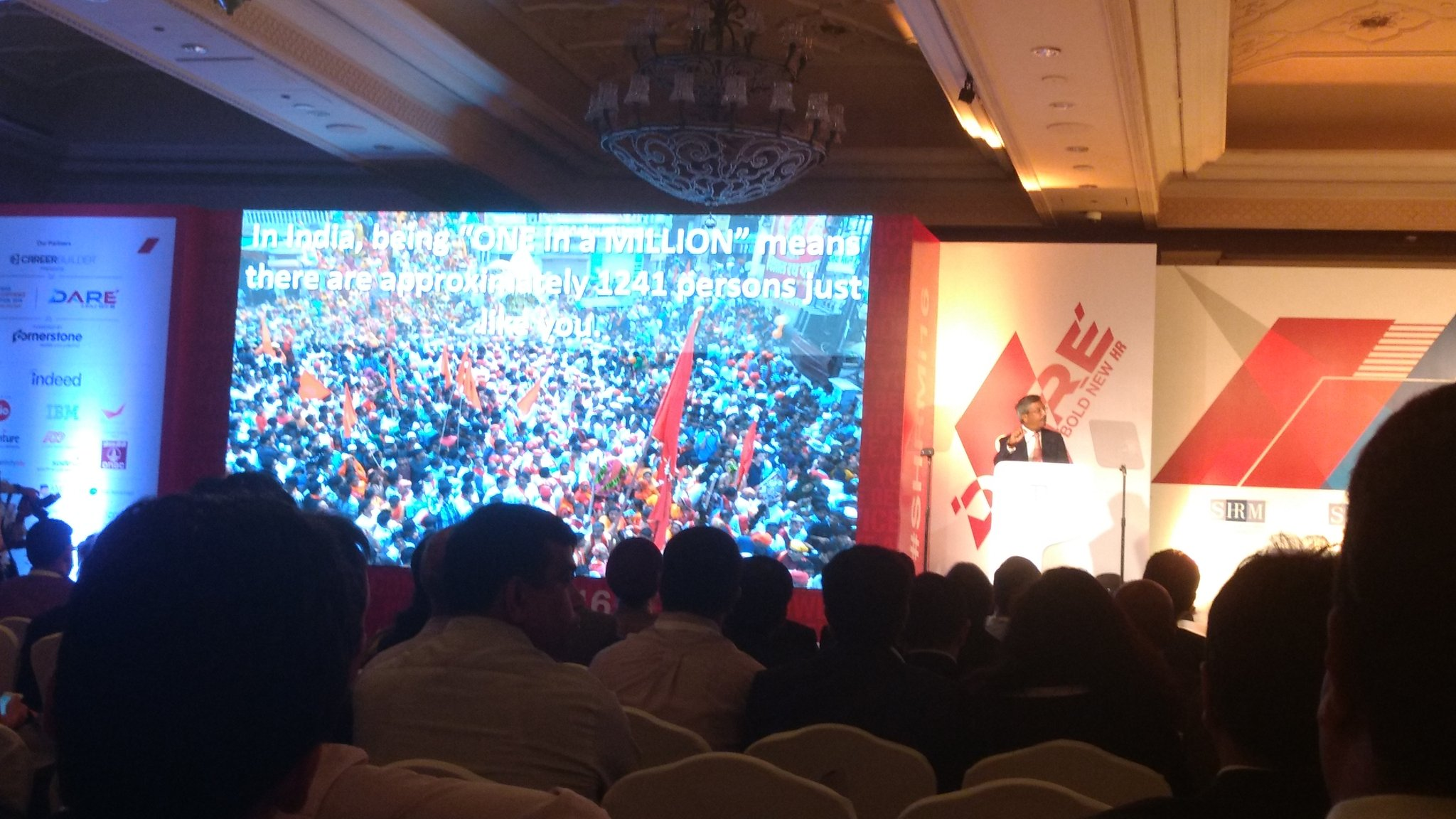 "In India, being ""One in a Million "" means there are approx 1241 persons like you . #Pramodbhasin  #SHRMI16 https://t.co/XryidaSEfb"