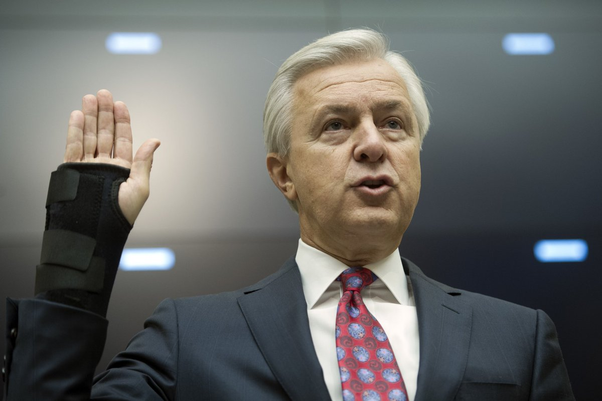 Wells Fargo CEO John Stumpf is back in front of lawmakers today. His job could depend on it.