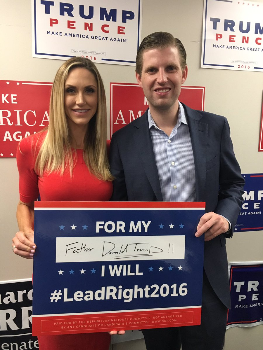 .@EricTrump and @LaraLeaTrump visit our Raleigh Victory Office today! #ncpol #LeadRight2016 #MAGA https://t.co/BJ8fZY0jXY