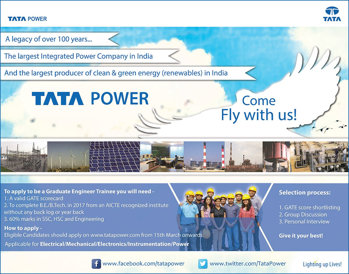 TATA POWER GRADUATE ENGINEER TRAINEE 2017