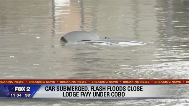 Major Metro Detroit flooding causing accidents, road closures.