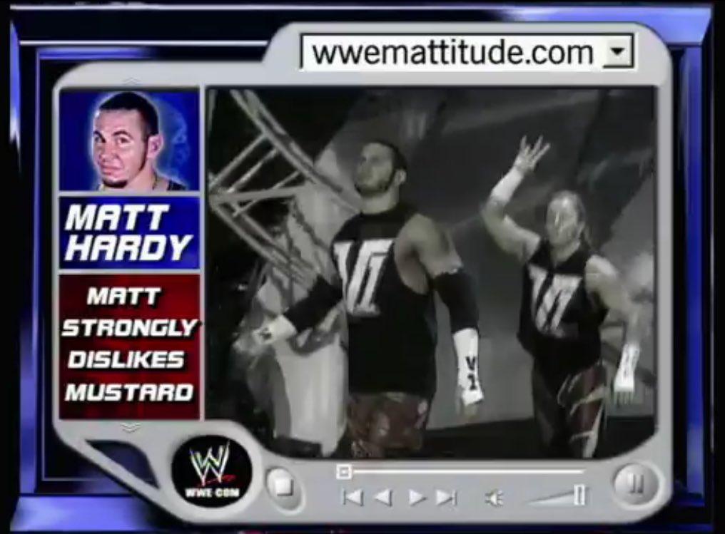 """Wrestling Memes on Twitter: """"It would appear Matt Hardy's dislike of mustard predates his broken condisheen...… """""""