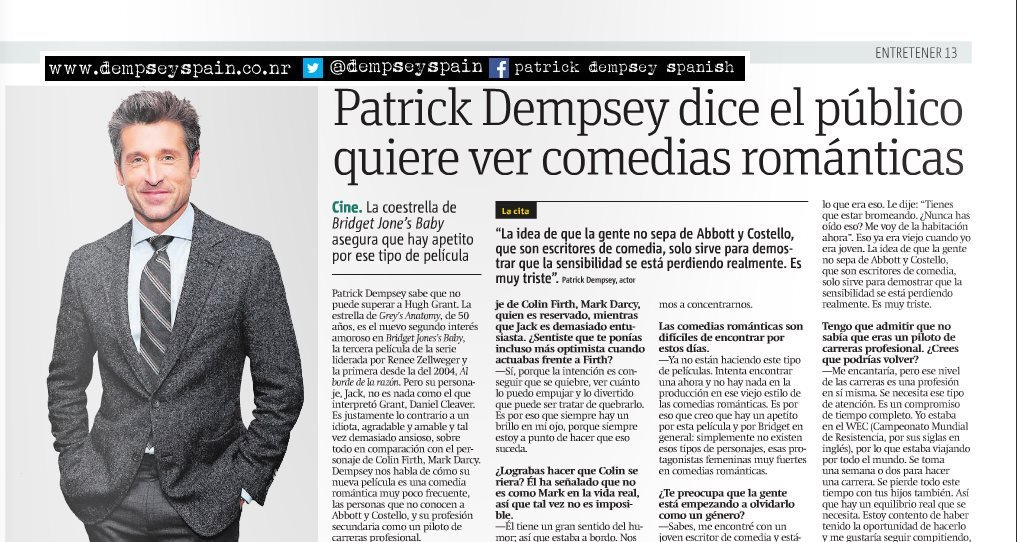 Dempsey Spain On Twitter Scan Entrevista A At Patrickdempsey En
