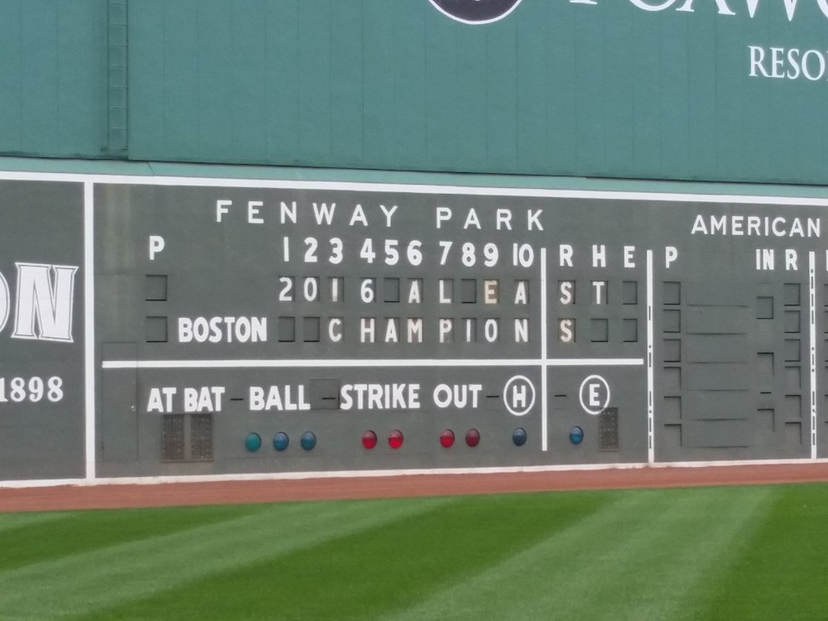 Chill in the air at Fenway today. October