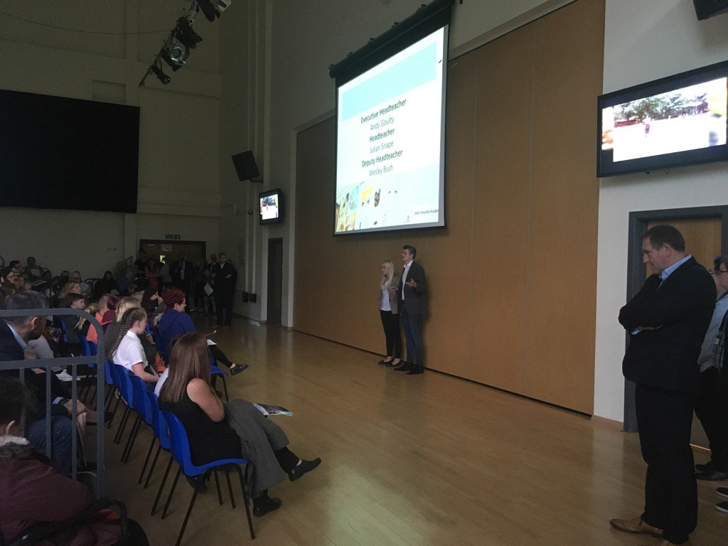 Our head boy and girl presenting to parents at #JSAOpenDay