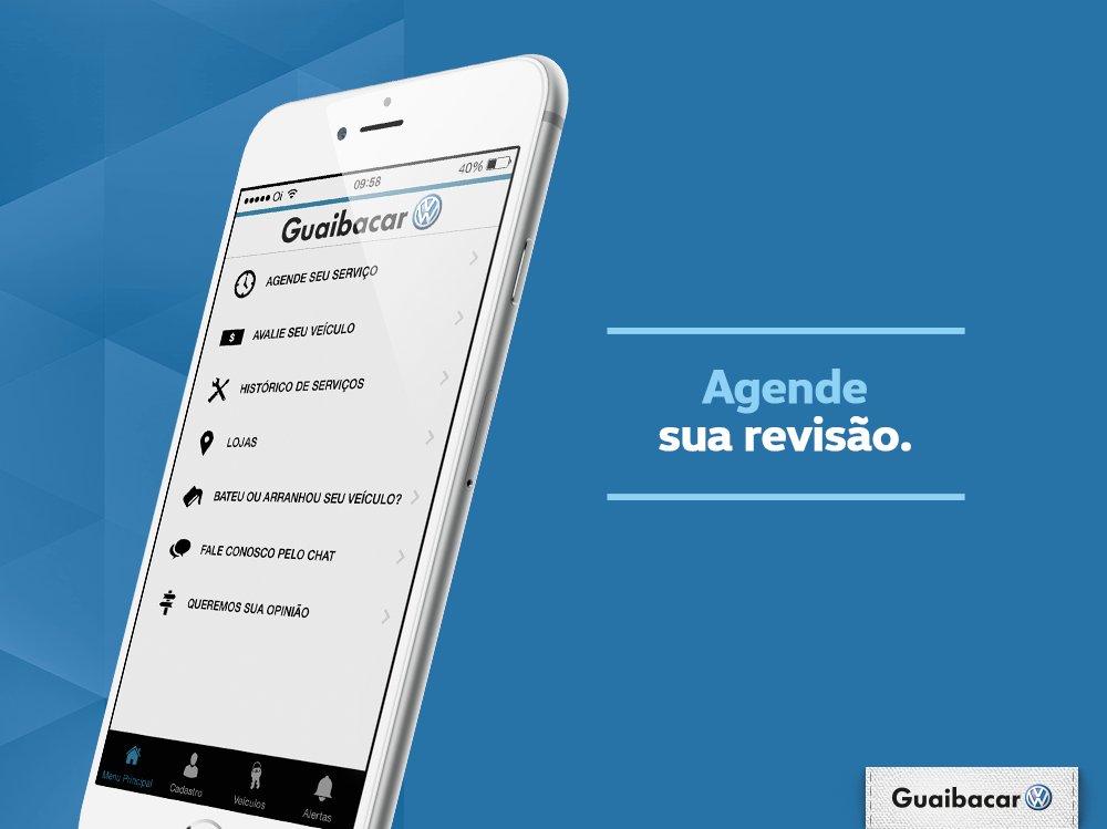 Pelo app da Guaibacar você agenda a revisão do seu VW e ser atendido com dia e hora marcados, sem dor de cabeça. https://t.co/LD9sJtYDZZ