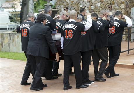 Marlins' Fernandez remembered as larger than life at funeral.