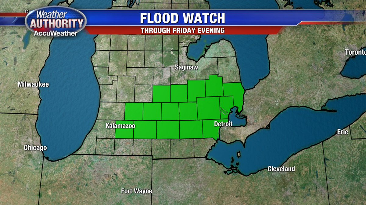 FLOOD WATCH continues for most of SE Mich until Friday evening.
