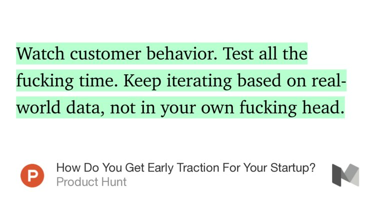 """Watch customer behavior. Test all the fucking time. Keep iterating based…"" — @ProductHunt https://t.co/vGFYbPvBID https://t.co/VOvIZ9HwRw"