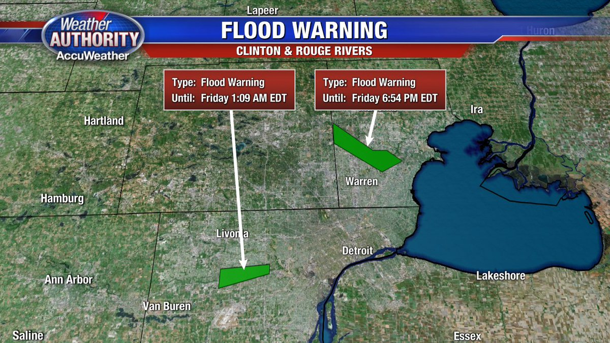 Flood Warning for parts of Clinton R. near Sterling Heights & for the Rouge near Inkster & Dearbon. Minor Flooding!