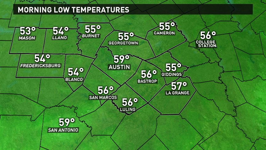 Temperatures in the 50s area-wide by daybreak. Your Friday and weekend forecast is next on KVUE News at 10pm